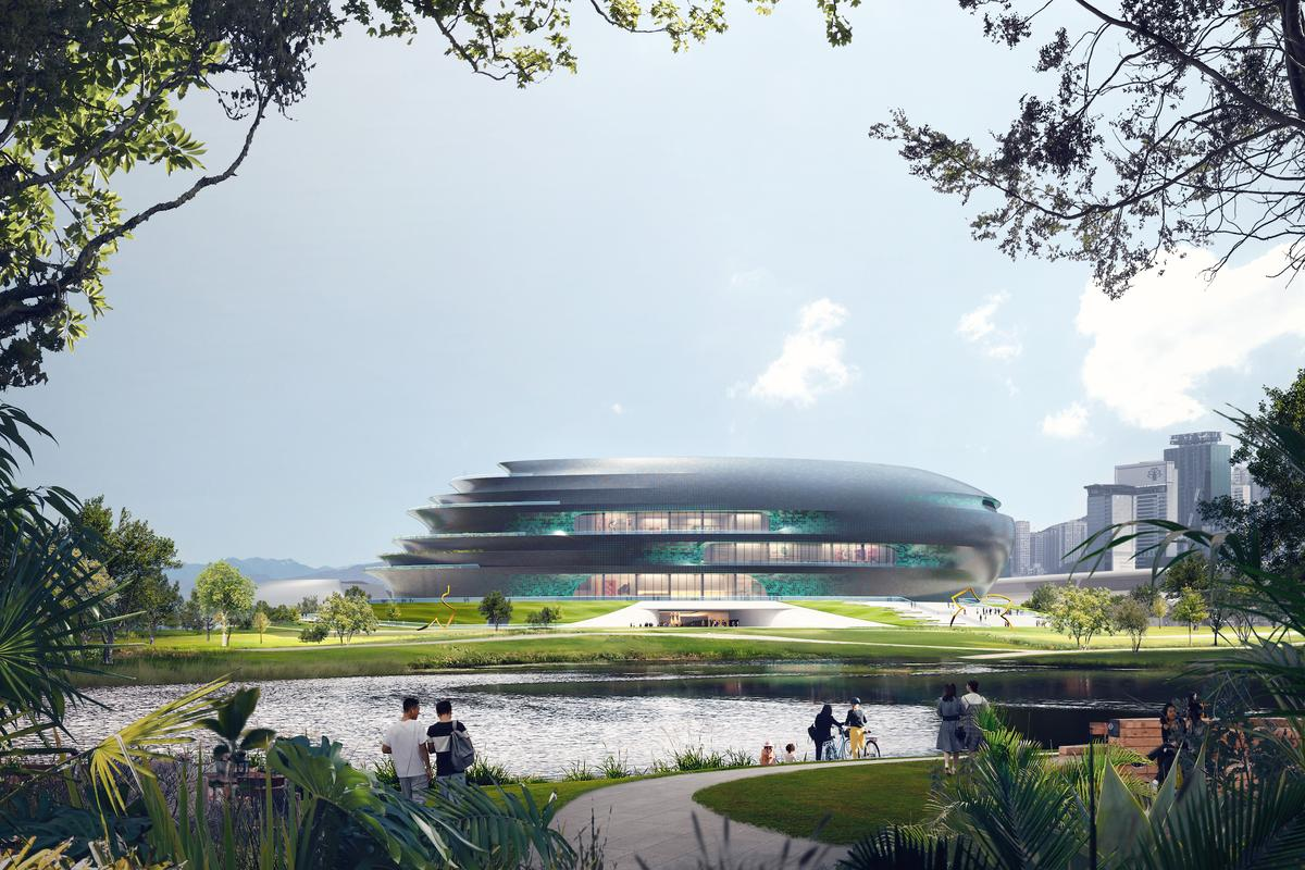 The Shenzhen Science and Technology Museum will feature extensive landscaping, including pathways and a lake