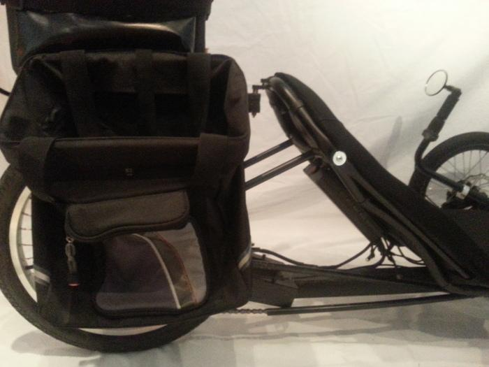Also included are saddle packs which can be fitted to the battery pack for storage