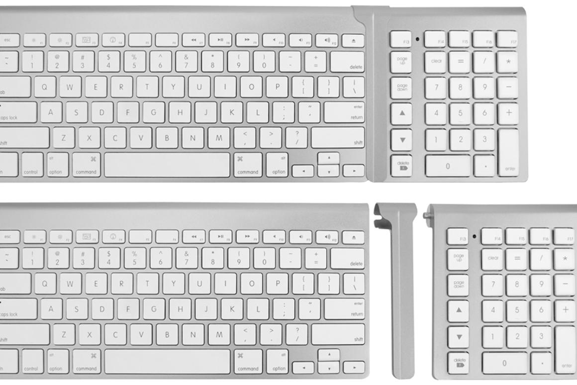 Cropmark LMP Bluetooth Keypad connects to the Apple Wireless Keyboard via a linkage bar
