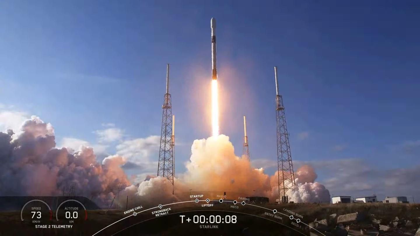 The SpaceX Falcon 9 rocket pictured blasting off with its Starlink cargo during the