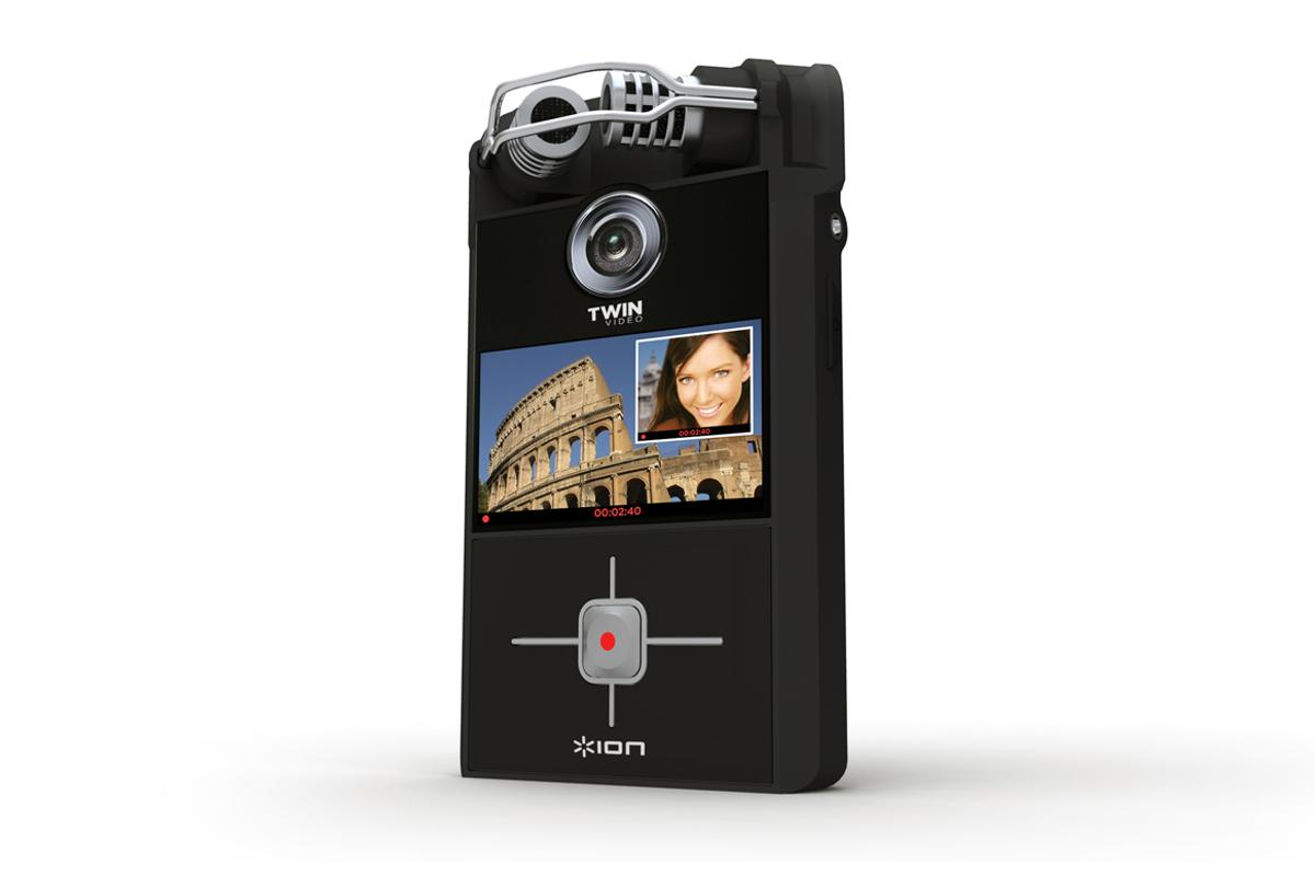 The Ion Twin Video camcorder features front and back cameras plus stereo microphones