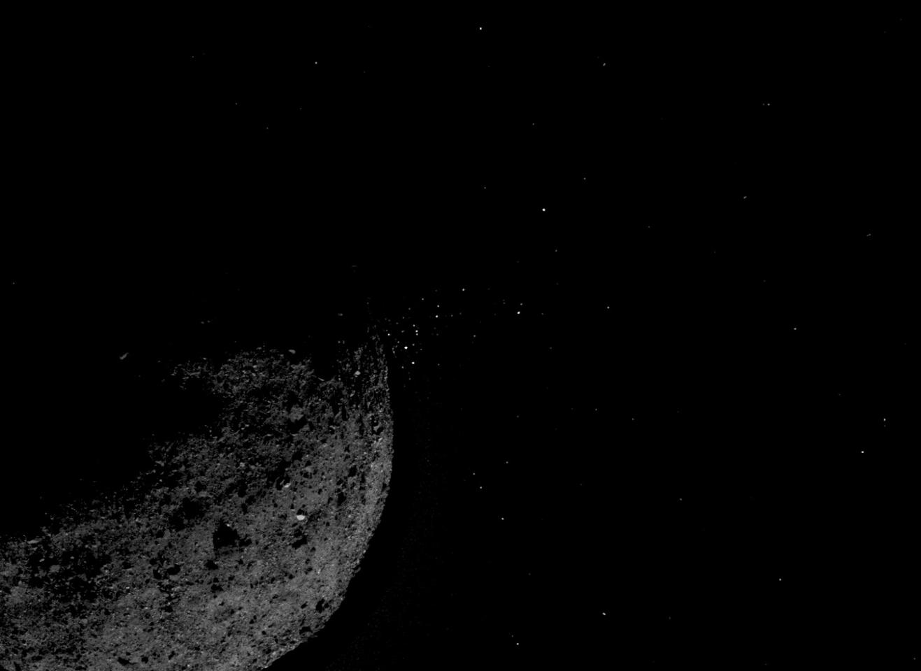 Image showing Bennu ejecting particles into space