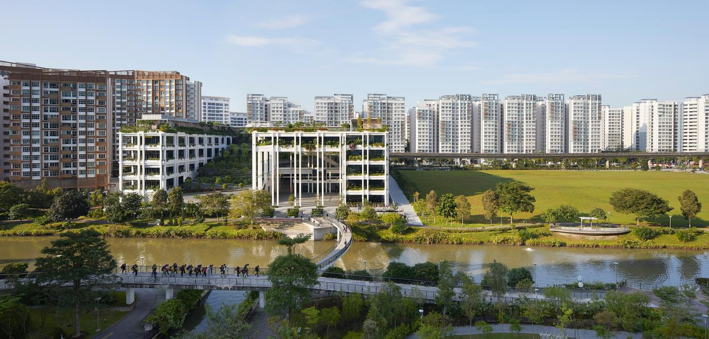 Oasis Terraces takes its place remarkably well among the surrounding buildings in Punggol, Singapore