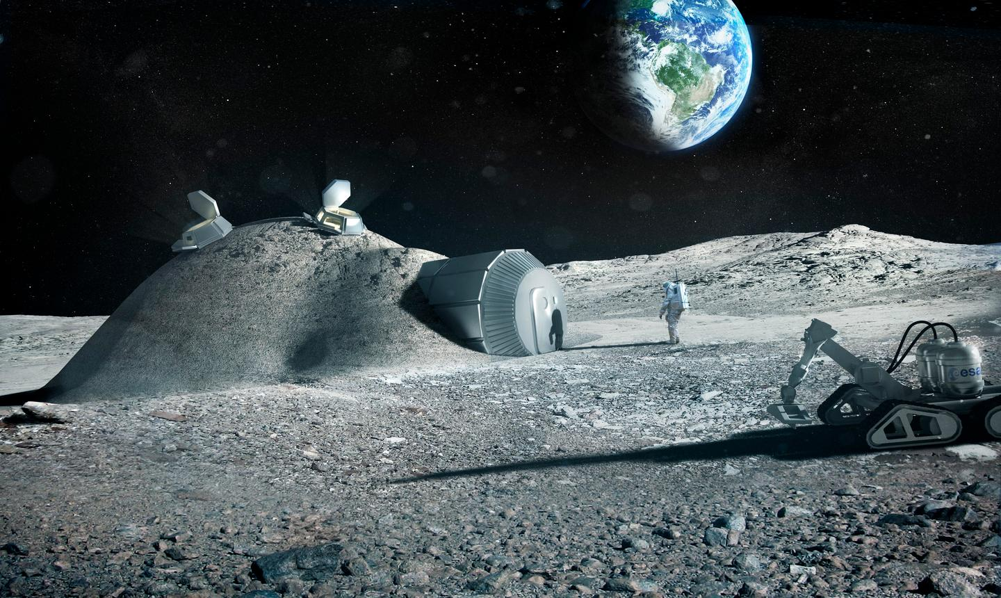 A research consortium set up by the European Space Agency is looking into the possibility of 3D-printing a lunar base (Image: Foster + Partners)
