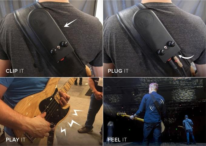 The BackBeat wearable subwoofer clips to a bass guitar strap, plugged into the instrument and headphones/an amplifier, and turns the sound of the bass guitar into vibrations