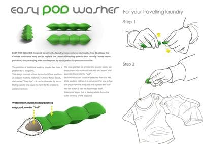 The Easy Pod Washer is based on an ancient Chinese laundry trick of traditional soap 'pods'(Credit: Yingying Zhou, Shijiao Li, Sicheng Wang)