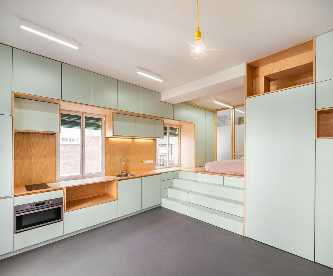 Spanish architectural firm Elii has recently transformed a tiny apartment in Madrid into a smart home filled with space-saving and multi-purpose furnishings