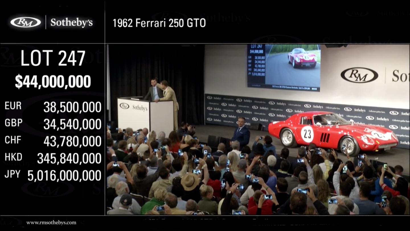 A new world record for a car at auction was set this evening when a 1962 Ferrari 250 GTO sold for $48,405,000