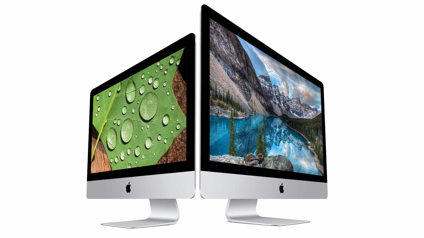 Retina Displays are now standard in the 27-inch iMac (right), and a higher-tier option in the smaller 21.5-inch model