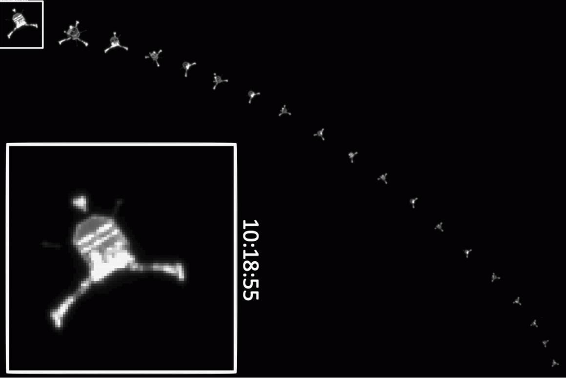 Sequence of images taken by Rosetta as Philae descended to the comet surface (Image: ESA/Rosetta/MPS for OSIRIS Team MPS/UPD/LAM/IAA/SSO/INTA/UPM/DASP/IDA)