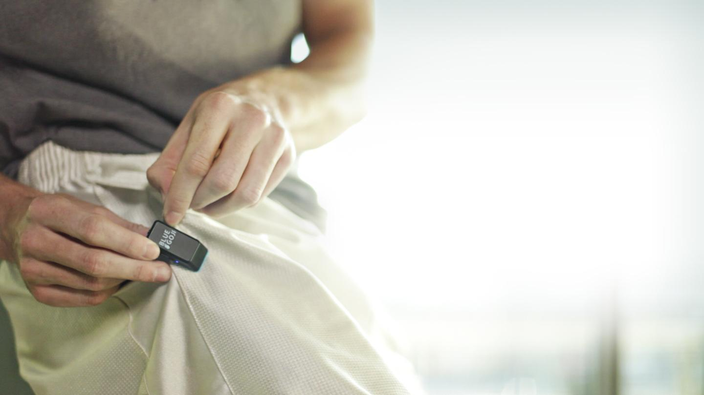 The clip-on motion sensor monitors user's movement and tracks fitness statistics