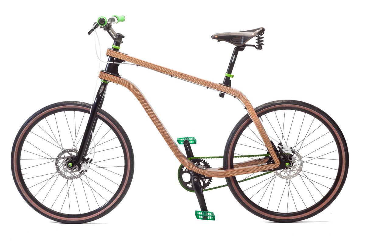 Polish designer Stanislaw Ploski's Bonobo bicycle has a frame made from bent plywood