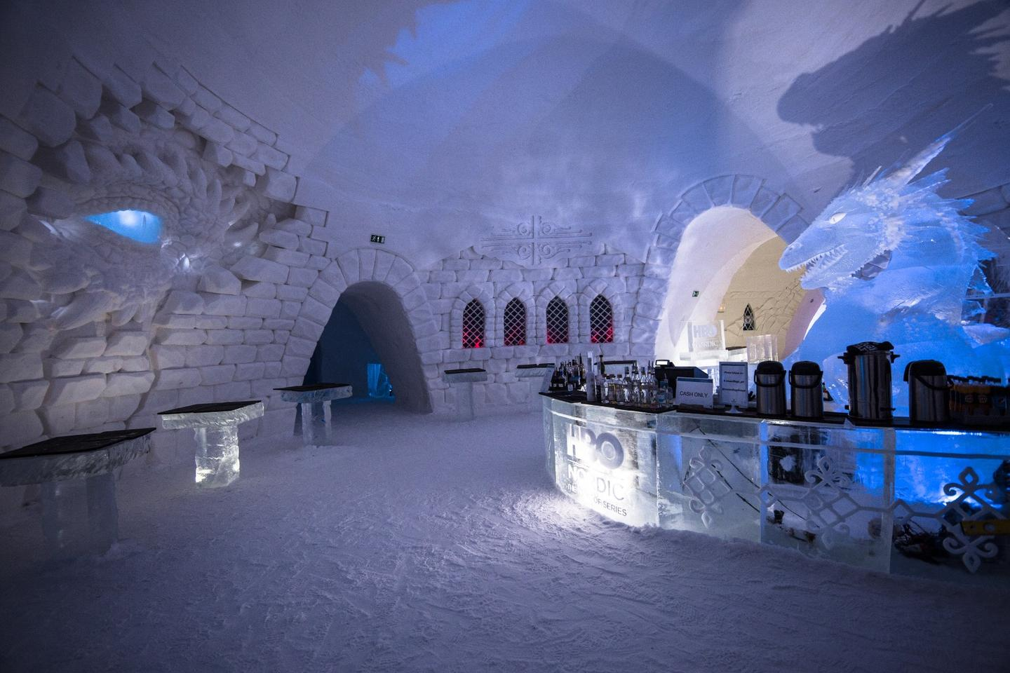 The SnowVillage is located roughly 200 km (124 miles) above the Arctic Circle