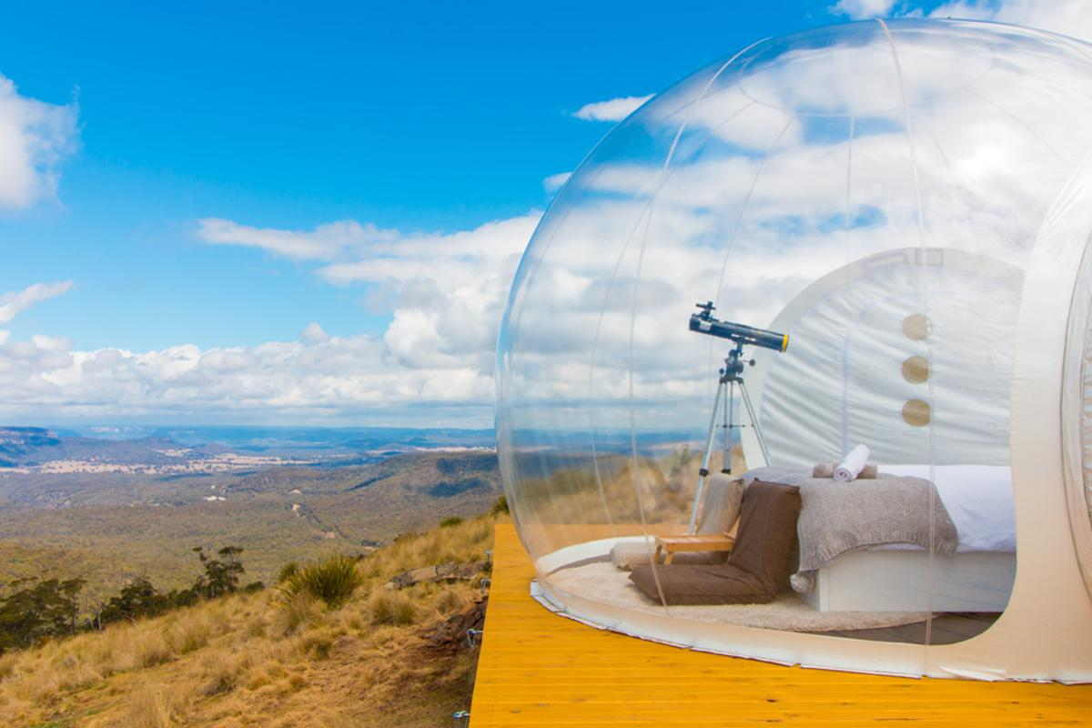Bubbletent Australia is the country's first bubble hotel, about two hours north-west of Sydney. Three isolated bubbles are available - including one with a private wood-fired hot tub
