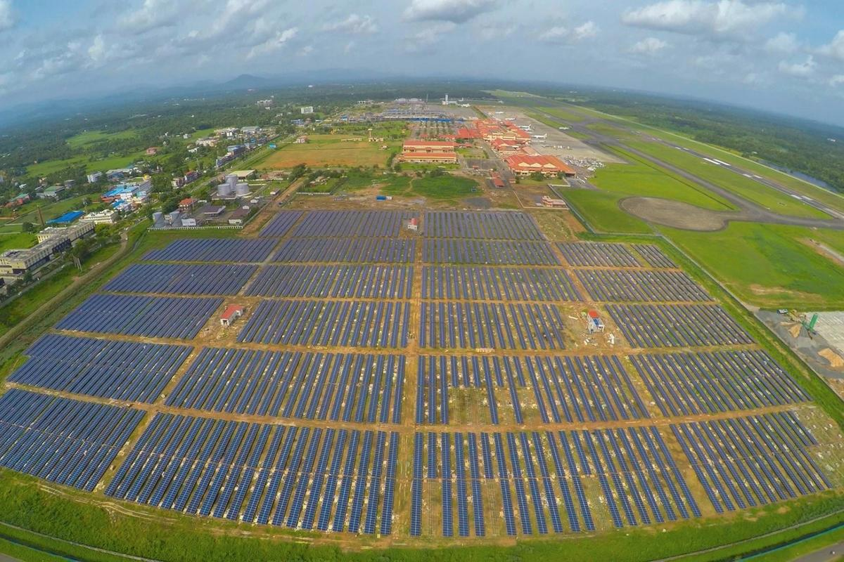 The new 12 MWp solar plant at Cochin International Airport stretches across 45 acres (18.2 ha) and is made up of more than 46,000 photovoltaic solar panels