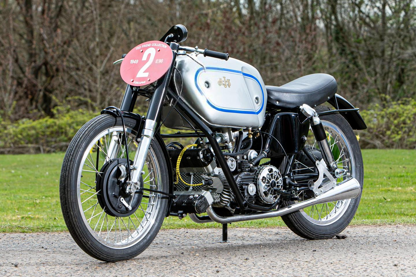 This 1946 AJS 500cc E90 'Porcupine' Grand Prix Racing Motorcycle is estimated to sell for between $355,000 to $426,000 (£250,000 to £300,000) at Bonhams' Three-day Summer Motorcycle Sale on 2-4 July, 2021