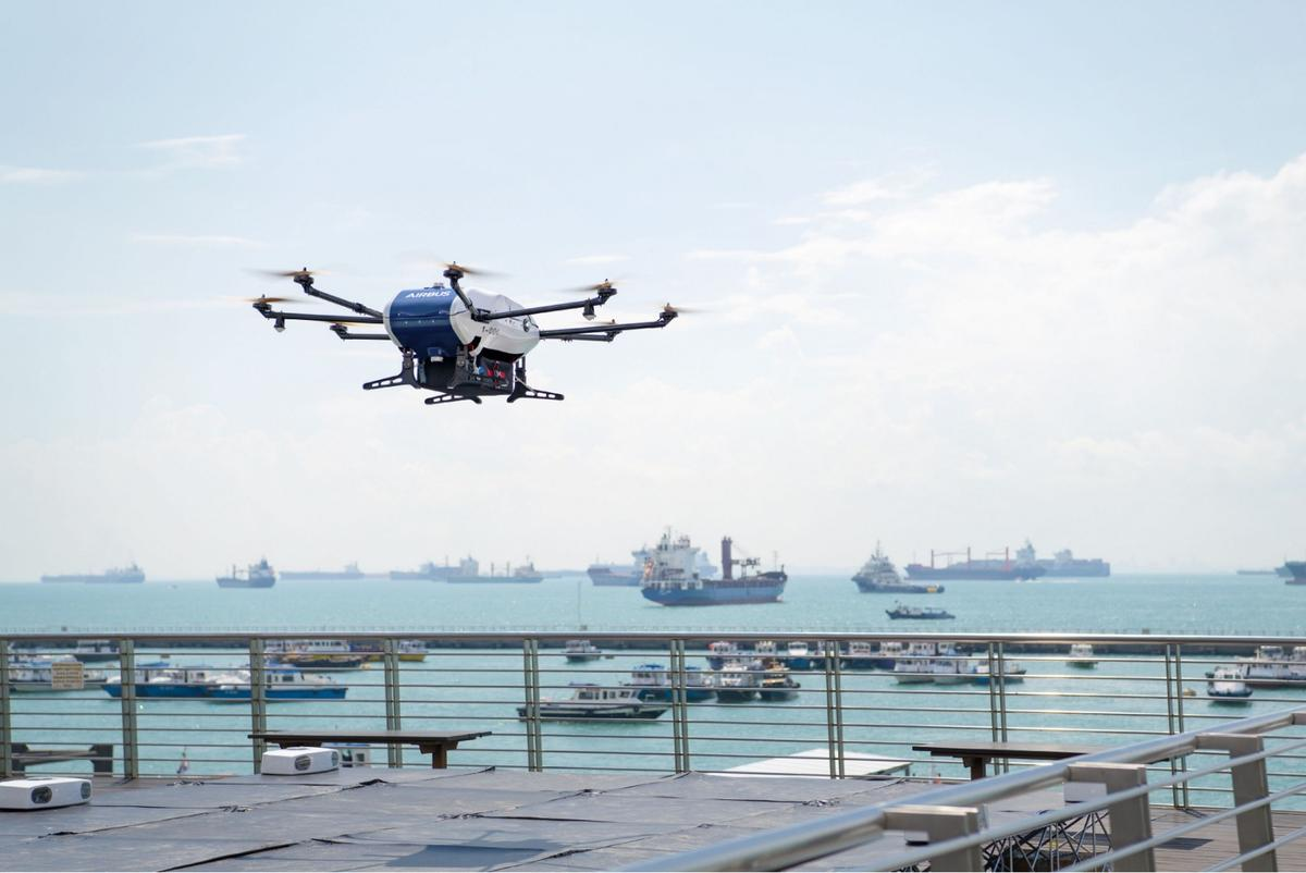 Airbusbeganshore-to-ship trials in Singapore with its Skyways parcel delivery drone last Friday