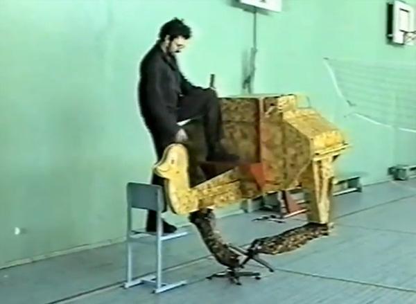 Konstantin Ivanov tests the robot's balance