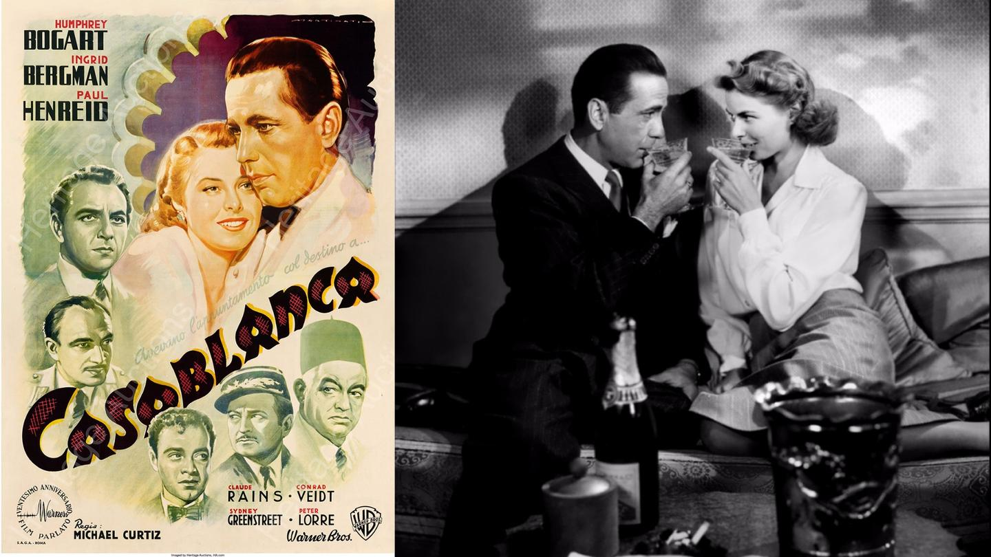 The second most valuable movie poster ever sold - the Italian Casablanca poster fetched $478,000. At right are the stars of the movie, Humphrey Bogart and Ingrid Bergman
