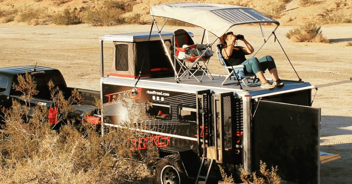 Wood-free pop-up camping trailer packs a rooftop party deck