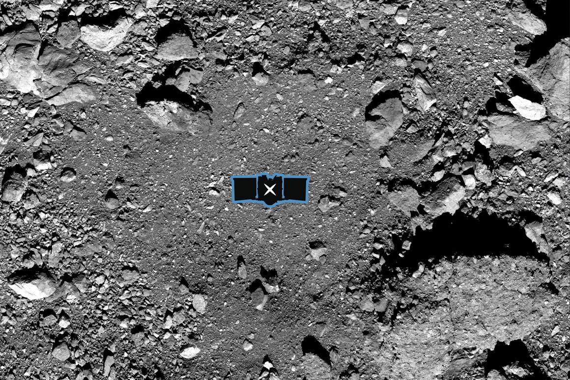 X marks the spot of the OSIRIS-Rex sampling site on asteroid Bennu