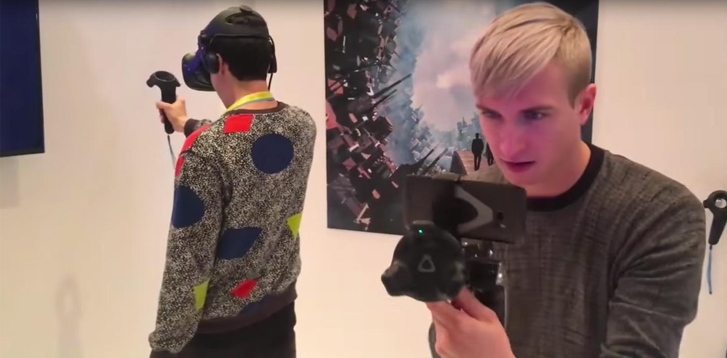With mobile room-scale capabilities, two players can play a VR game with only one Vive headset