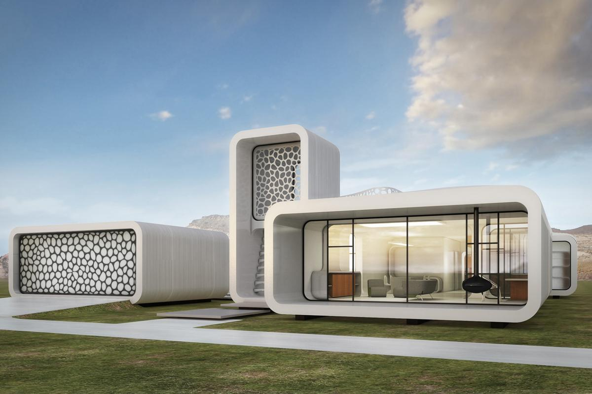 The design of the office building that will be constructed using 3D printing technology