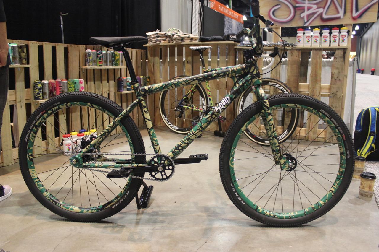 Squid Bikes was showcasing this camo-painted singlespeedmountain bike