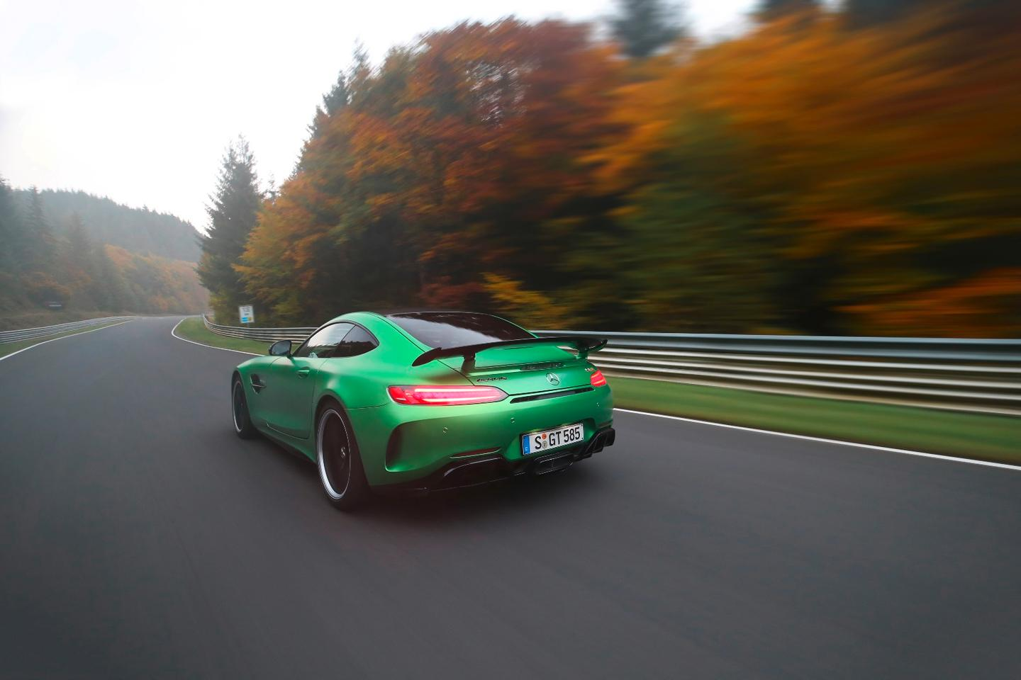 The AMG GT R makes its way around the Nordschleife