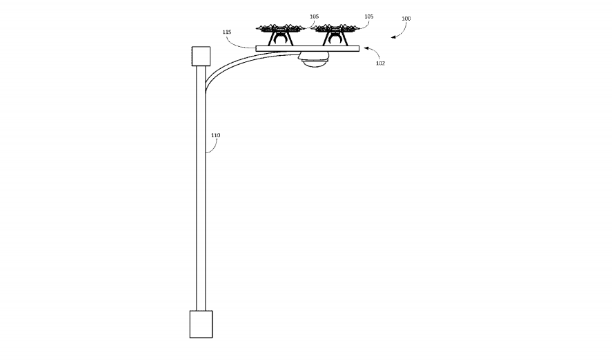 Drone docking stations on lamp posts and power poles could host multiple drones at the same time