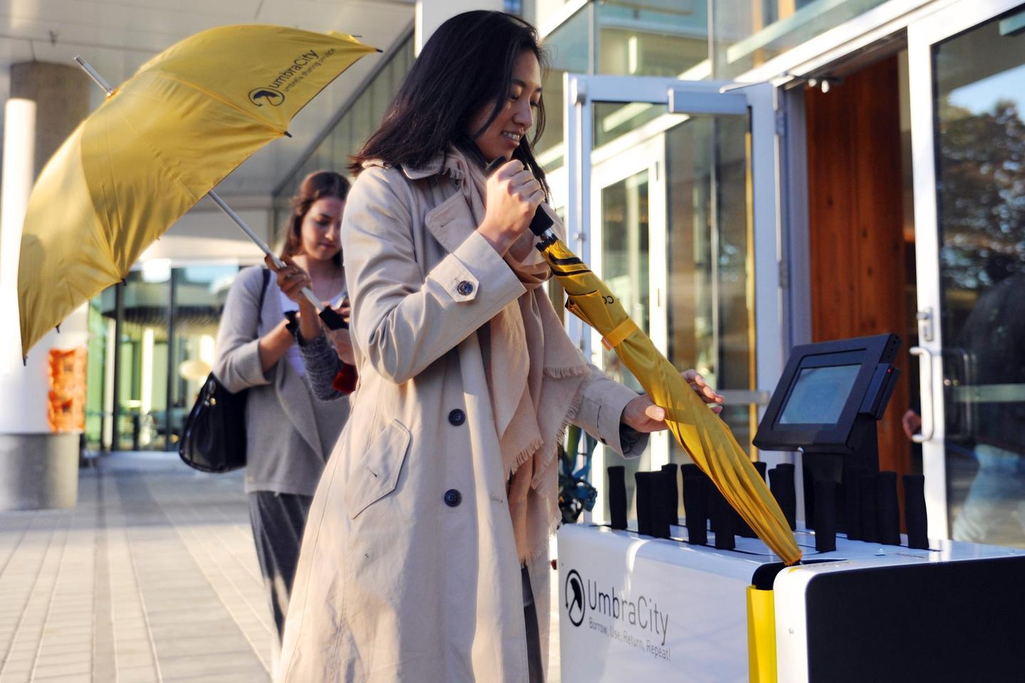 The UmbraCity solution is a fully automated umbrella rental kiosk that was inspired by sharing economy systems such as car-share and bike-share programs services
