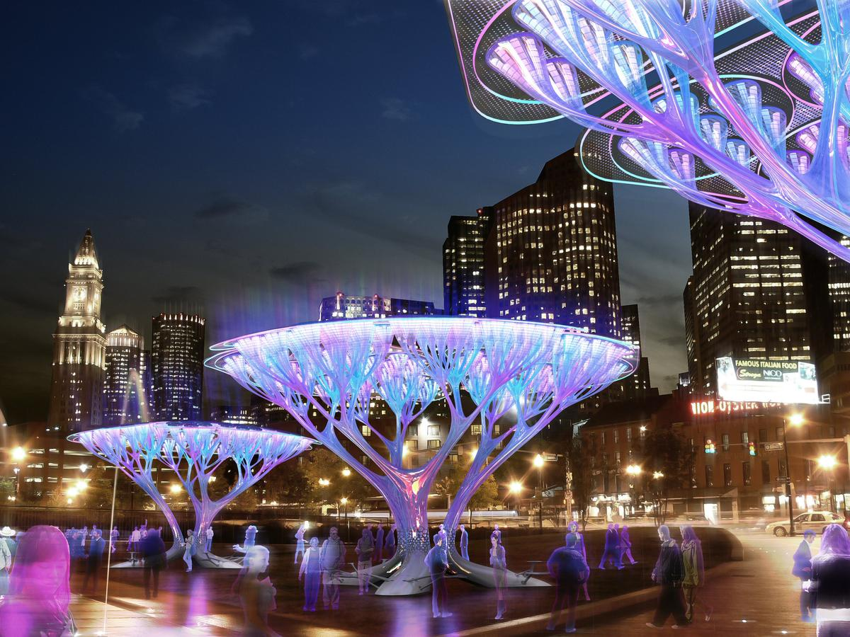 At night, multi-color lighting enhances the beauty of the Treepods structures