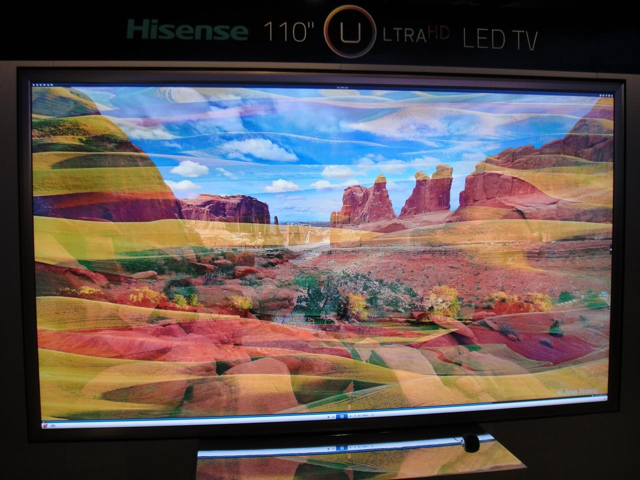 "Hisense revealed a new line of Ultra-HD LED TVs in 65"", 84"", 110"" sizes at CES 2013"