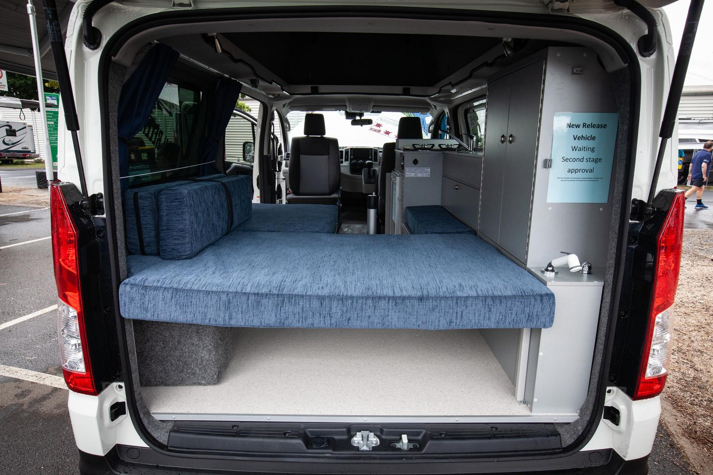A look in the tailgate of the new Frontline Hiace camper van