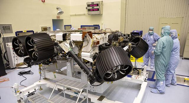 The Perseverance rover under construction at NASA's Kennedy Space Center earlier this year