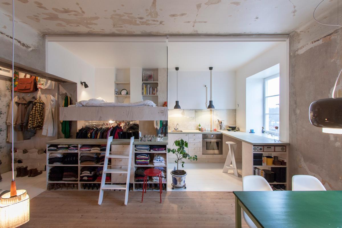 Swedish architect Karin Matz, transforms an abandoned 36sqm room into a multi-purpose tiny home