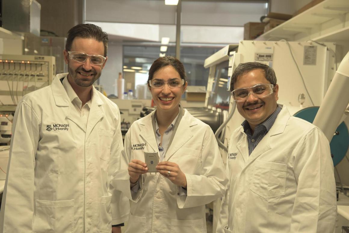 Dr Mahdokht Shaibani (center) led the development of a new lithium-sulfur battery that could power an electric car over 1,000 km without recharging