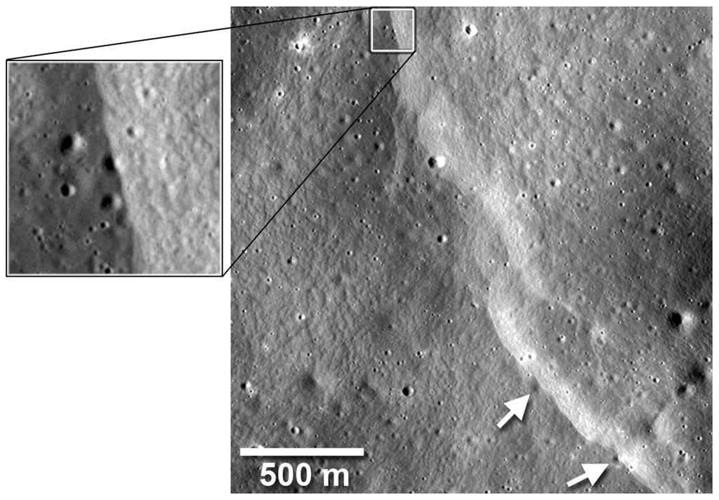 Another fault cut across and deformed several small diameter (~40-m diameter) impact craters (arrows) on the flanks of Mandel'shtam crater (Image: NASA/Goddard/Arizona State University/Smithsonian)
