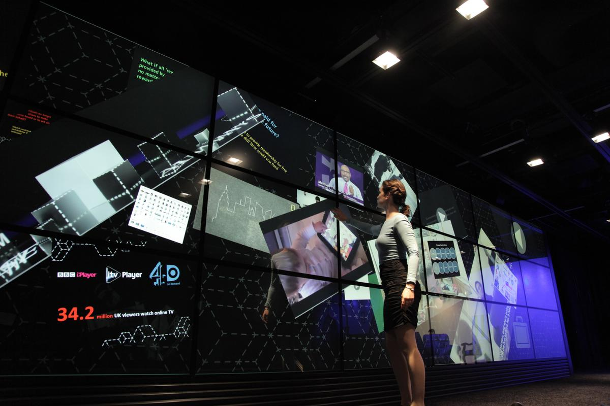 The world's largest interactive multi-touch display wall has been created using 24 MultiTaction Cell display from Finland's MultiTouch Ltd
