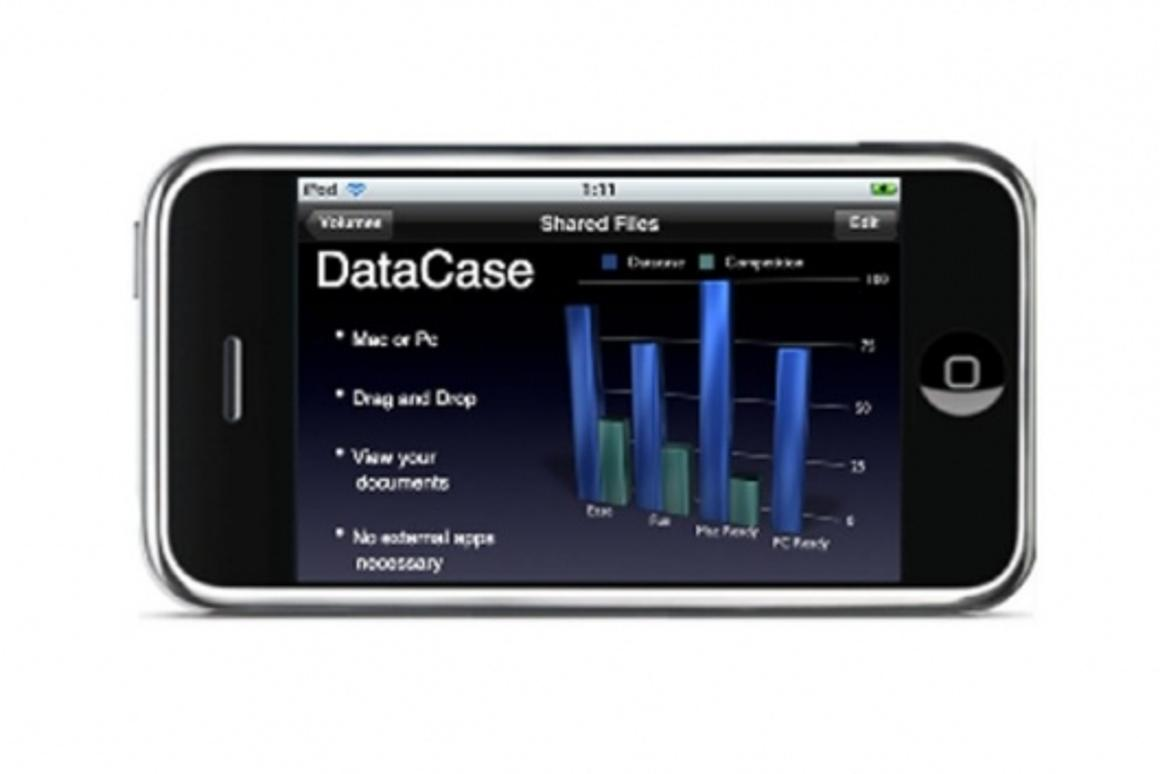 DataCase allows consumers to turn their iPhone or iPod Touch into a hand held wireless drive
