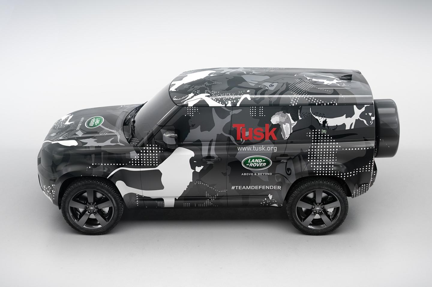 The prototype Land Rover Defender in its Tusk Trust livery