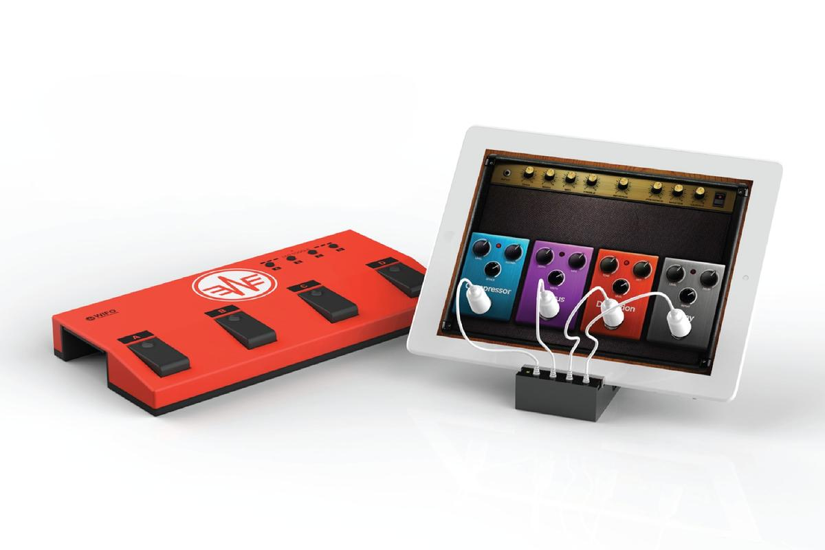 The RemoFinger system can be used to activate onscreen stomps to alter a guitar's tone, add distortion or add some atmospheric echo