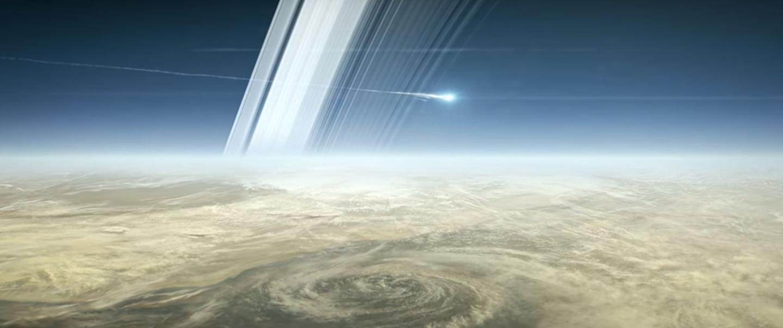Artist's concept of Cassini burning up above Saturn