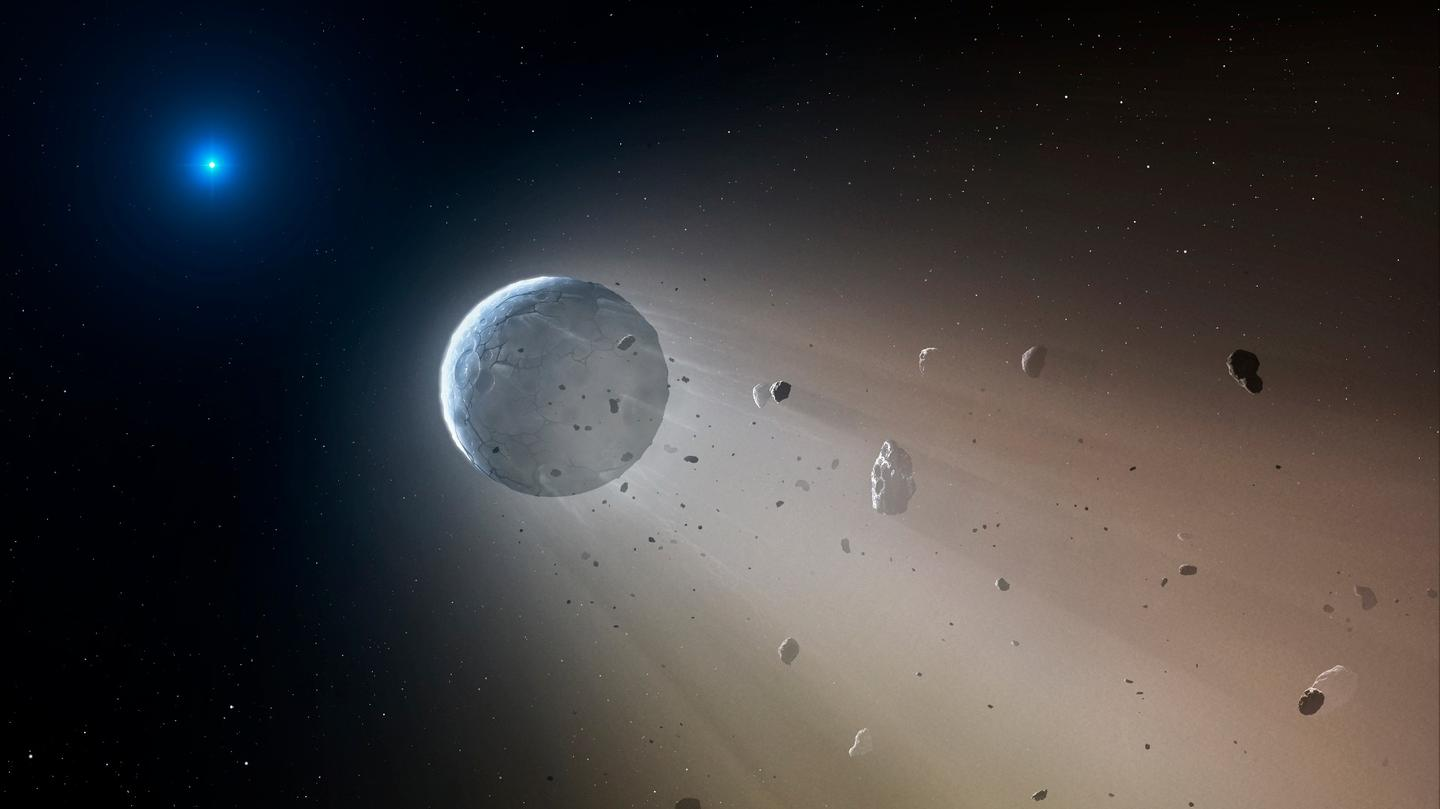 Artist's impression of the newly-discovered, white dwarf-orbiting planetesimal