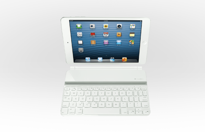 The front view of the Logitech Ultrathin Keyboard mini in white