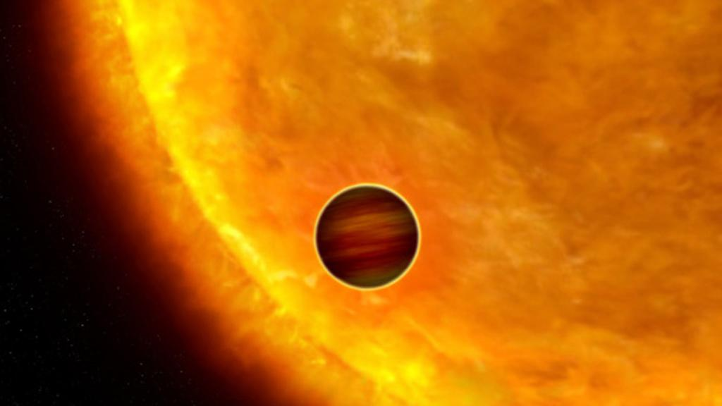 An artist's impression of a Jupiter-sized planet transiting in front of its parent star (Image: NASA/ESA/G. Bacon (STScI))