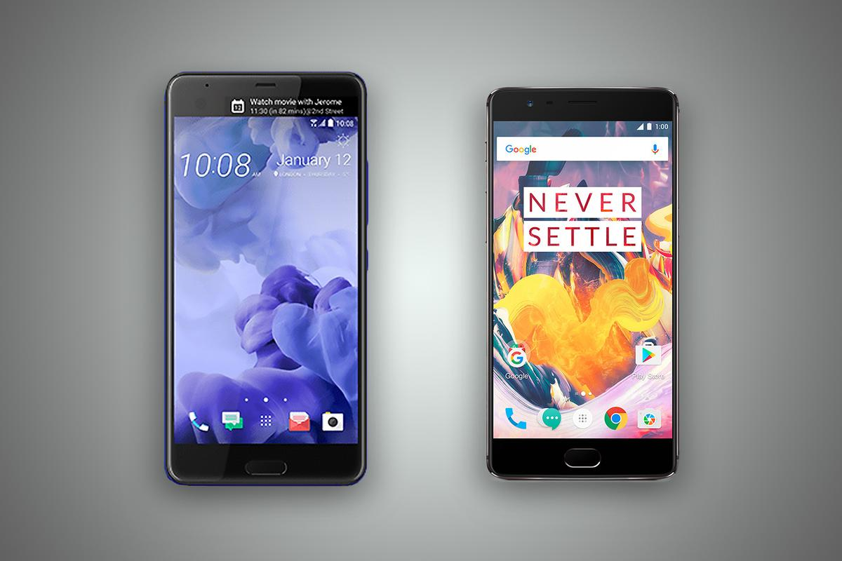 Gizmag compares the features and specs of the HTC U Ultra (left) and OnePlus 3T