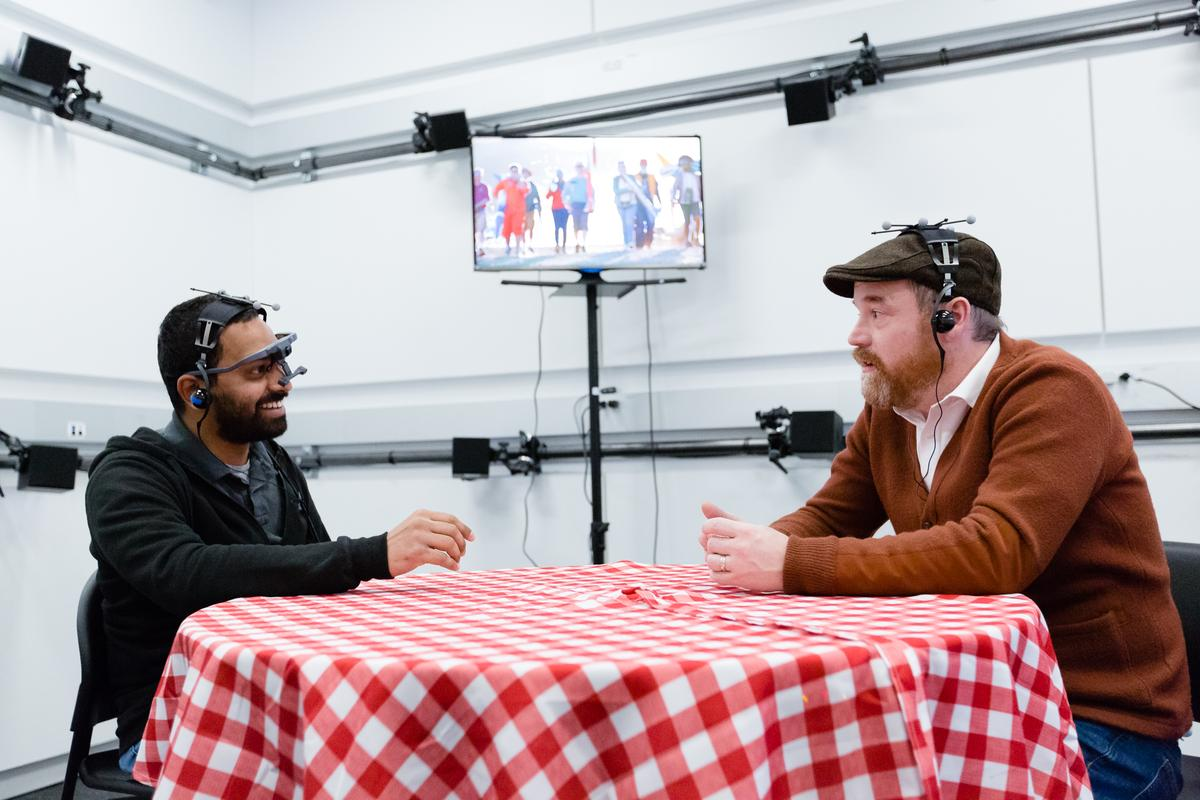 Even in a loud environment, the prototype audio tech allows for conversation clarity at normal voice levels