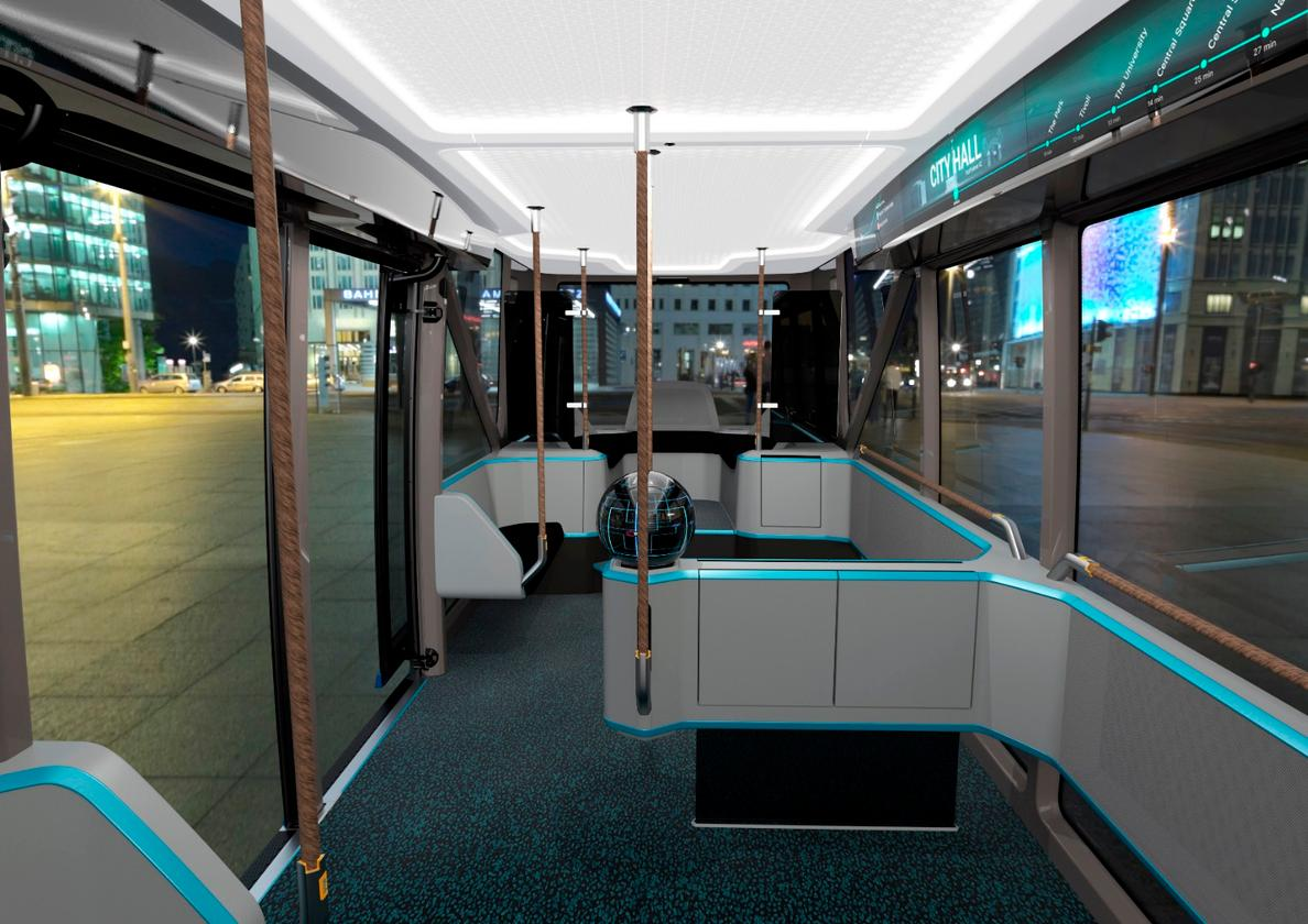 The interior features enough space for 55 passengers, including 20 seats
