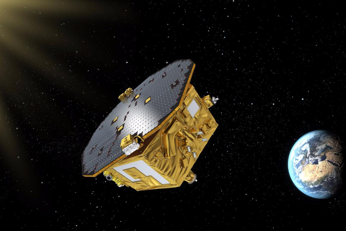 An artist's impression of the LISAPathfinder in space